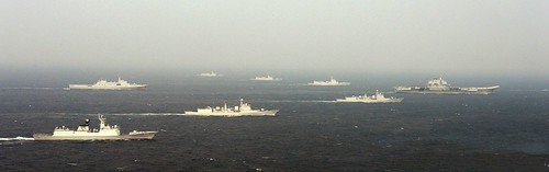 PLA Navy carrier battle group in formation in South China sea at the end of 2013   by simonyang126