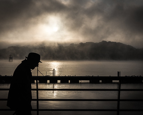 bw hat silhouette fog sunrise quay age londonderry oap serry