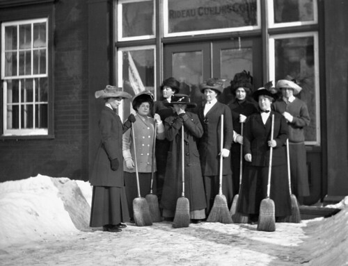 group of women curlers in front of the rideau curling club. Black Bedroom Furniture Sets. Home Design Ideas
