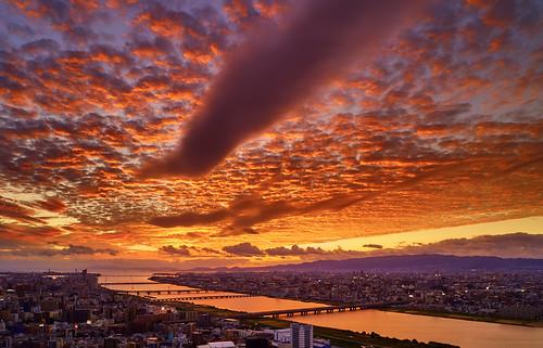 japan osaka sunset