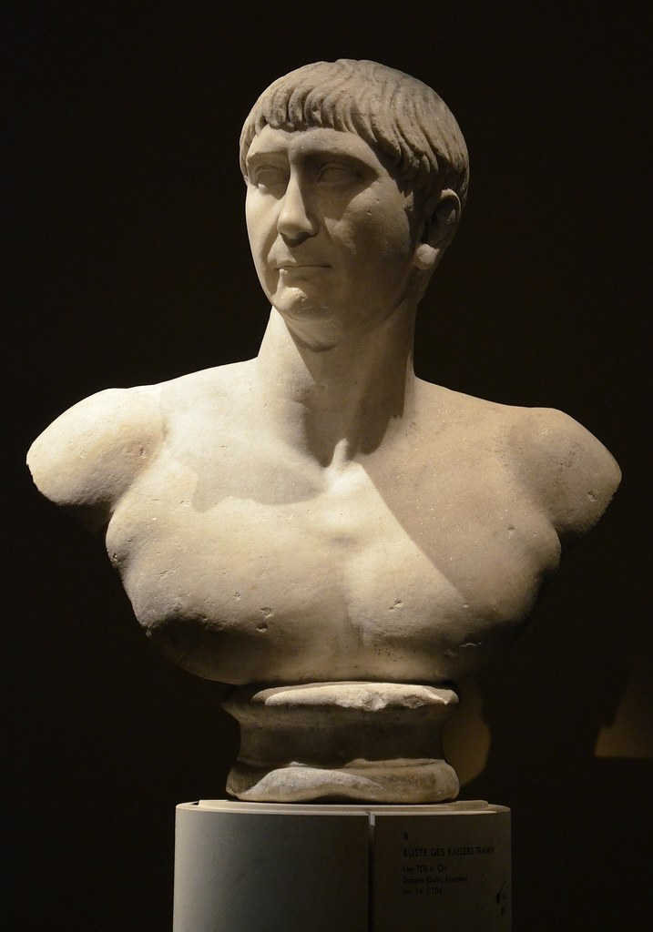 "Bust of Trajan, found in Salona (Solin, Croatia), ca. 108 AD, of the so-called ""Decennalia type"", Vienna Kunsthistorisches Museum, Austria"