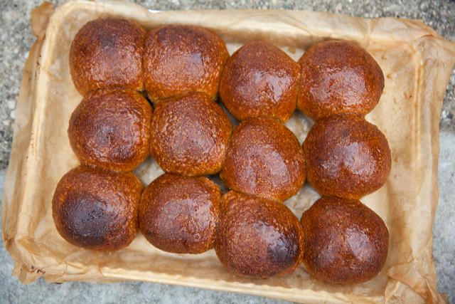 Dozen of Pumpkin rolls with maple butter glaze