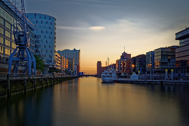 HafenCity in the evening light