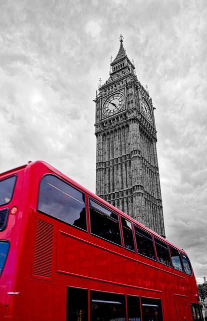 Big Ben & Bus, London, England, UK