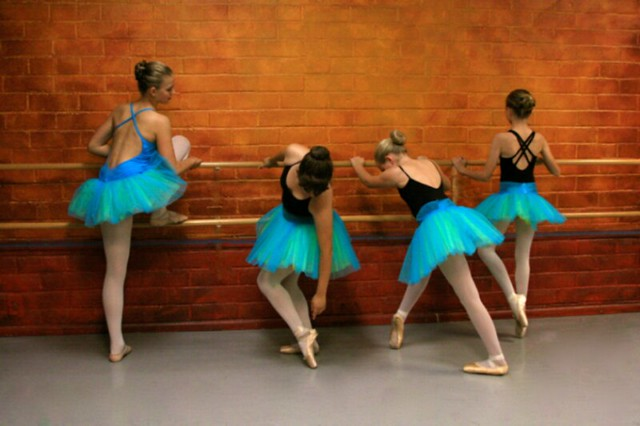 ♥Young Ballet Dancers Stretching at the Barre ~ Reminiscent of Degas ~