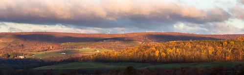 fall autumn trees leaves colors sunrise alleganycounty maryland frostburg windmill turbine red orange canoneos6d ef70300mmf456isusm farm mine