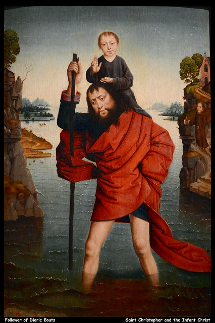 Follower of Dieric Bouts - Saint Christopher and the Infant Christ  JPB