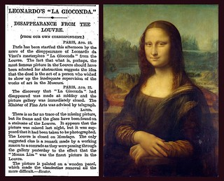 22nd August 1911 - Mona Lisa stolen from the Louvre | by Bradford Timeline