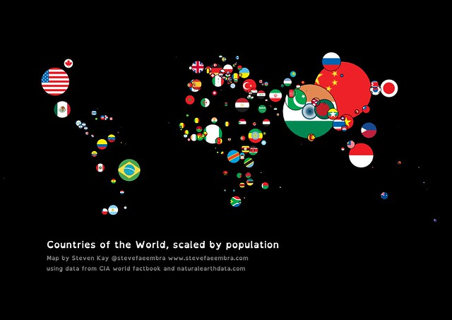 Countries, scaled according to population
