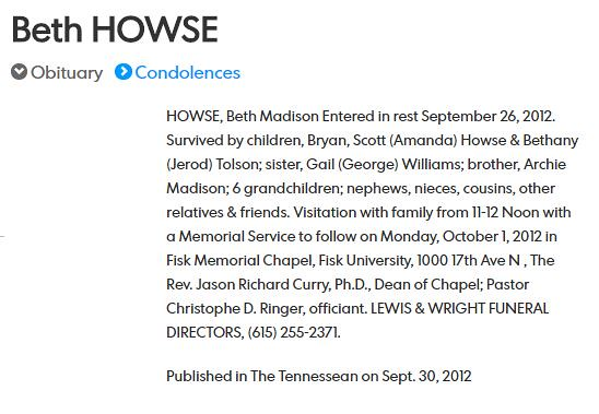 Beth Madison Howse Obituary - Miss Fisk 1963