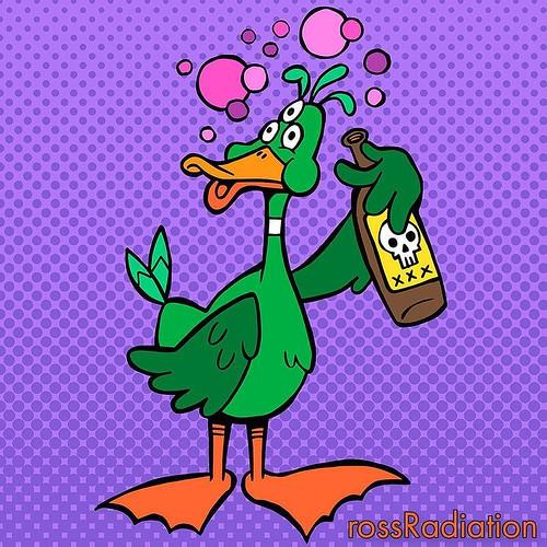 Drunk duck #drunk #duck #beer #booze #pissed #alcohol #cartoon #comic #popart #drawing #artwork #inktober #rossradiation #radiationart