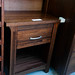 Walnut stained tall boy chest of drawers