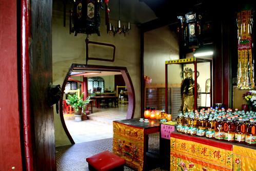Interior with view of the living quarters,  Lim Fah San Monastery, Kuching, Sarawak   by davidvictor513