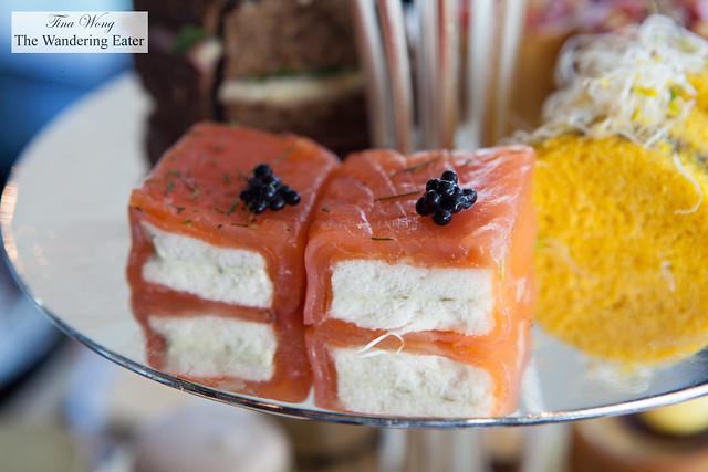 Smoked salmon wrapped tea sandwiches