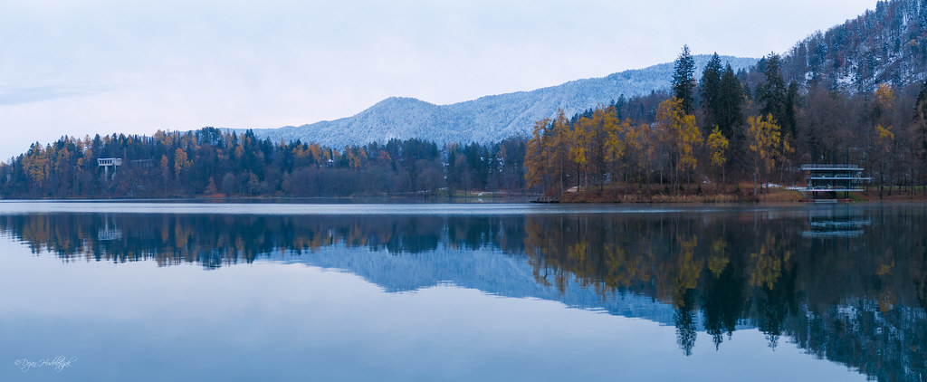Reflections At Lake Bled Bled Slovenia Autumn And Snow C
