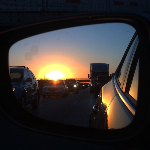 instagramapp square squareformat iphoneography uploaded:by=instagram sunset road car drive highway interstate 71 i71 north ohio traffic jam rear view mirror sun sky evening reflection