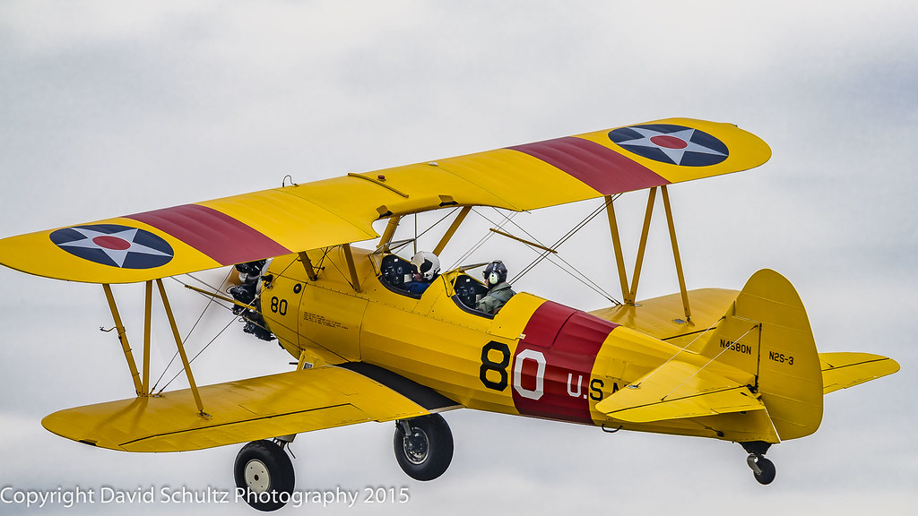 Alex Bock in his Boeing Stearman A75N (PT17) N4580N