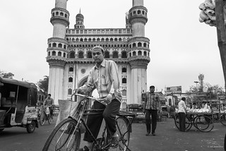 Cyclist by the Charminar   by madrones