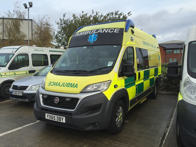 Unique with Yorkshire Ambulance Service awaiting to enter service YX65DBY Fiat Ducato with a WAS Emergency Ambulance Conversion - Seen at YAS Fleet Centre near Wakefield 14/11/2015