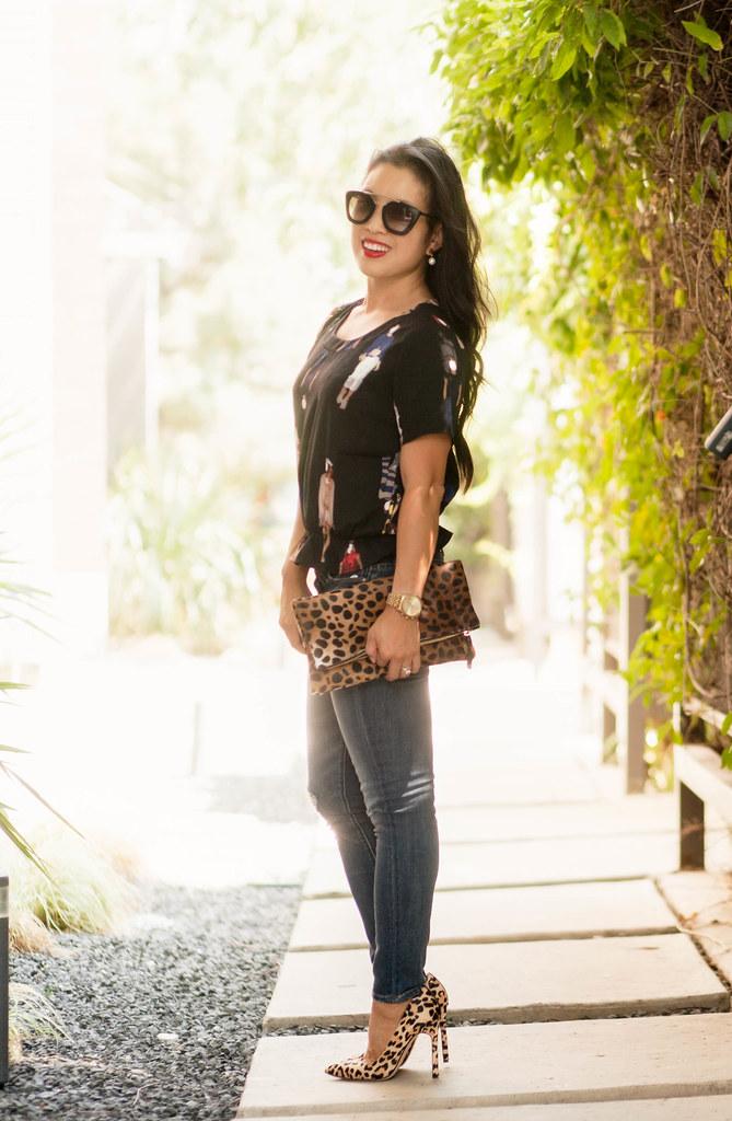 19c2f908 cute & little blog | petite fashion | black peplum top, treasure & bond  distressed skinny jeans, leopard pumps, clare v leopard foldover clutch, ...