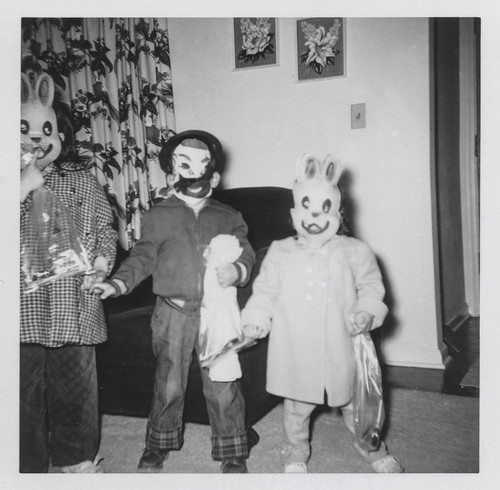 Children dressed as clowns and rabbits for Halloween