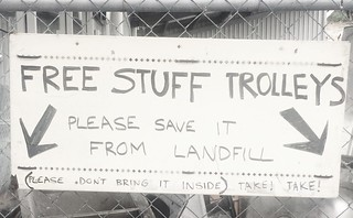 Free stuff trolleys sign - South Hobart Tip Shop | by miaow