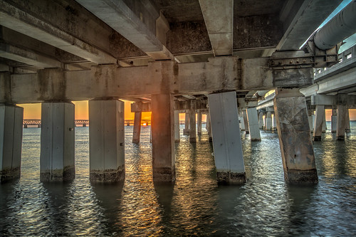 hdr bahia honda state park florida keys under bridge sunset us highway 1