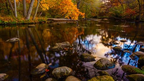 park longexposure fall water creek river landscape evening us stream unitedstates michigan overcast kalamazoo milhampark kalamazoocounty portagecreek puremichigan
