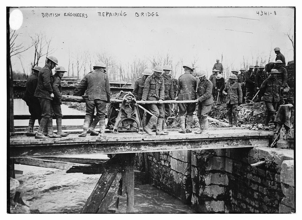 British engineers repairing bridge (LOC)