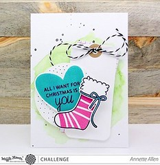 http://bit.ly/1OPPOmx The challenge team is on the blog today! We think Annette's card is perfection! Love how she stamped the long sentiment from #StockingStampSet on two lines to fit on the heart from #DTMixStampSet! So clever! #WaffleFlower #WaffleFlow
