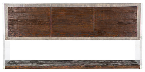 Lucite console with kirei and rustic reclaimed wood | by urbanwoods123