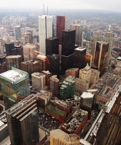 Union Station and Fairmont Royal York from CN Tower, Toronto, Ontario | by Ken Lund