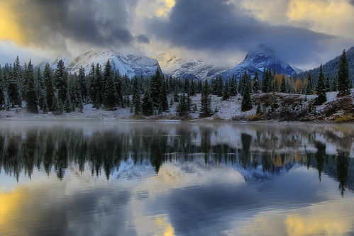 lake mountains sunrise reflections dawn san colorado juan molas