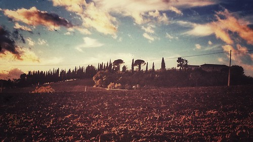 snapseed 5s iphone field trees sky clouds sunset countryside italy