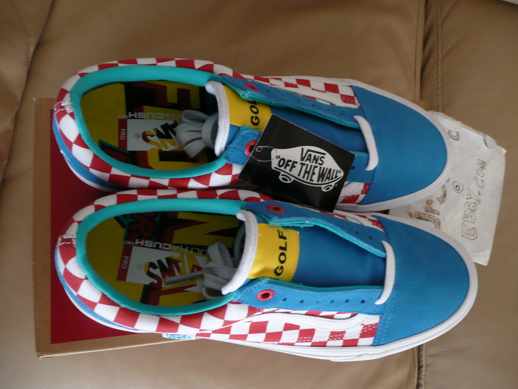 d8e34b034f3990 ... Golf Wang x Vans Old Skool Pro Size 11 Blue Red White checkerboard 2015