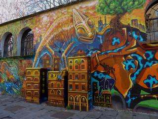 Graffiti at Piazza San Eustorgio in Milan, Italy