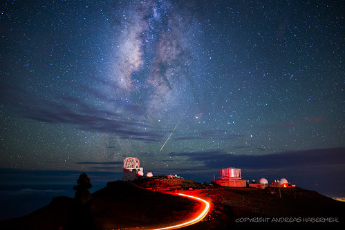Milky Way and Perseid Shooting Star over Observatory on Haleakala, Maui, Hawaii | by Andreas Habermehl