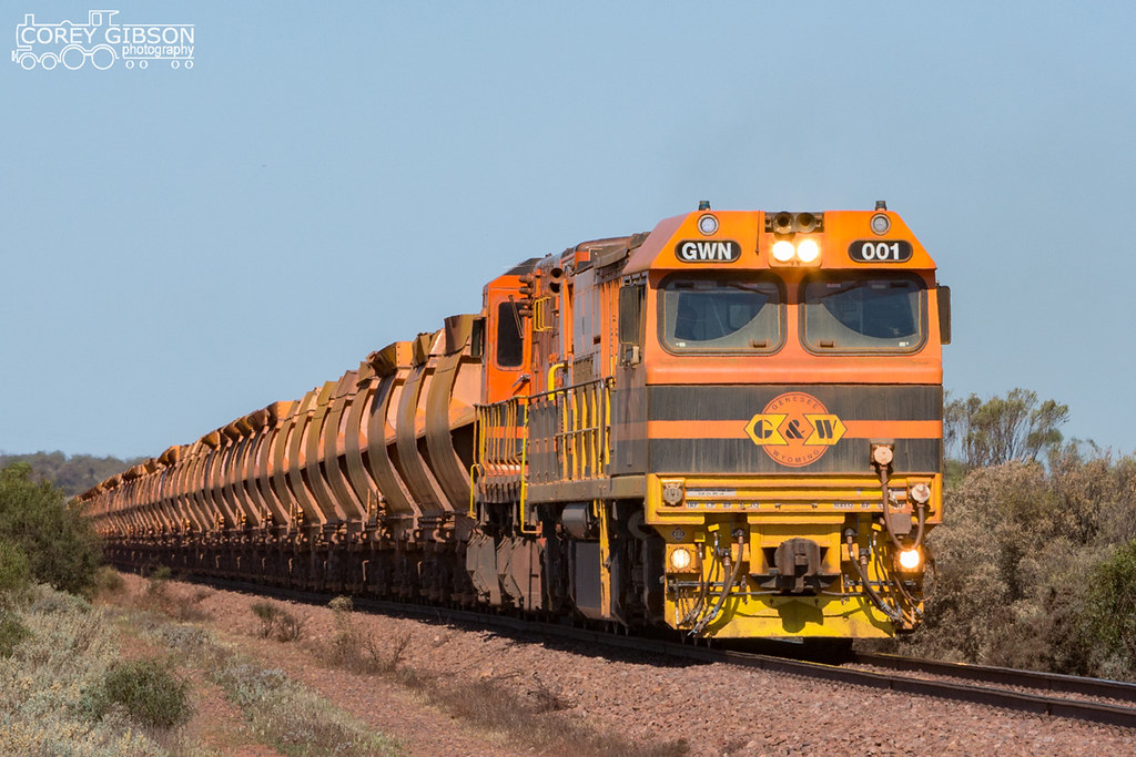 GWN001 & 1302 empty ore train head out towards Iron Baron by Corey Gibson