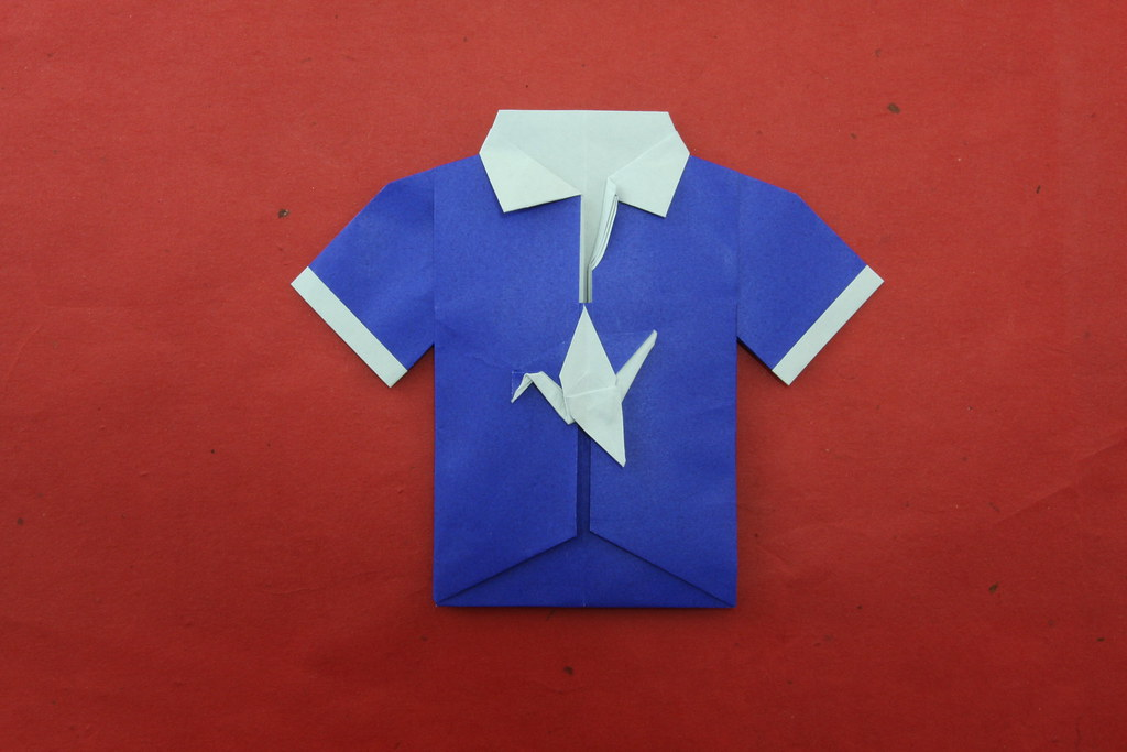 Origami shirt with tie Royalty Free Vector Image | 683x1024