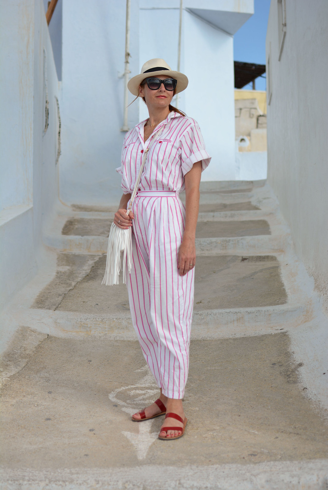 Vintage DVF pink and white striped jumpsuit | Location: Santorini | Not Dressed As Lamb