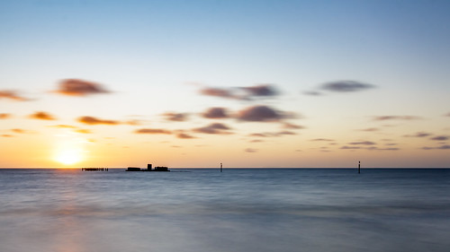 sunset sea water clouds waves au australia victoria scapes blackrock portphillipbay cerberus