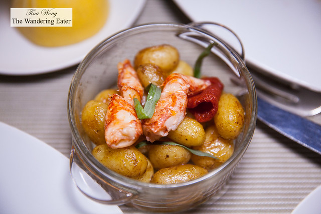 Potatoes cooked in buter, fennel and preserved tomatoes and lobster (part of Bouillabaisse service)
