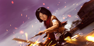 Angel Sasaki cosplaying Mikasa Ackerman of SNK
