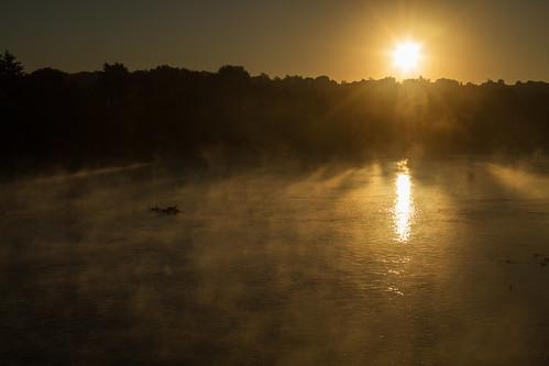 sun fog sunrise steam merrimackriver