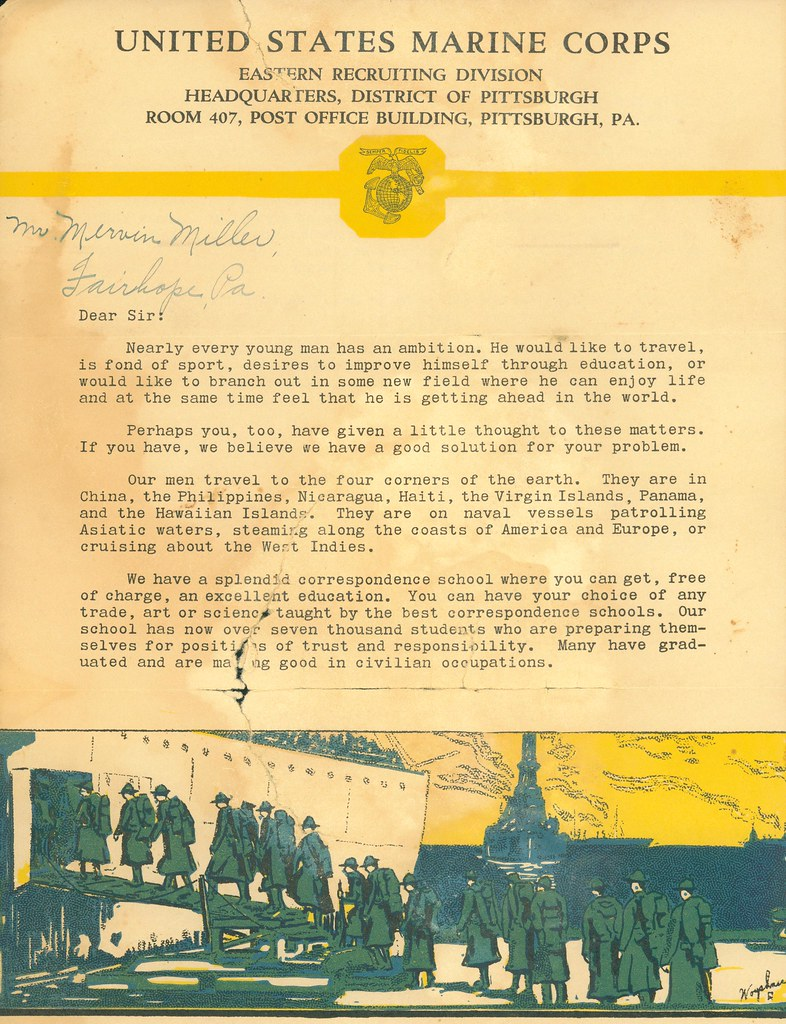 Marine Corps Recruiting Letter, circa 1928 (page 1 of 2) | Flickr