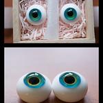 玉響 ピーコックブルー 瞳孔まわりに菜の花色の差し色 16ミリ