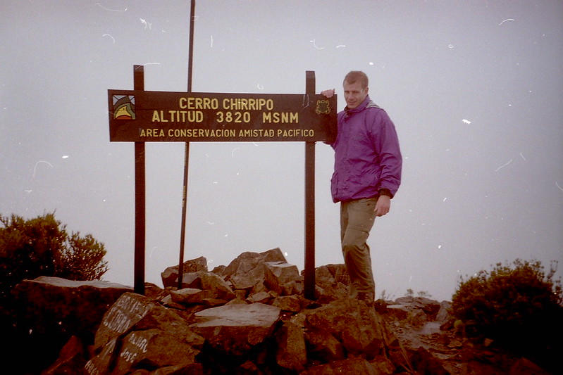 The top of the highest point in Costa Rica, Just made it. 2001. Cerro Chirripo 3820 meters.