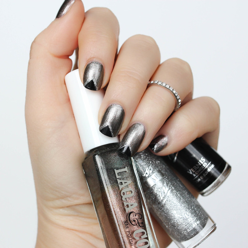 Metallic Black Triangle Manicure Nail Art Laqa & Co Polish Ankle Biter | 6 Halloween Manicures That are SCARY Good | Halloween Nails | Nail Art | Nail Designs | Spooky Nails
