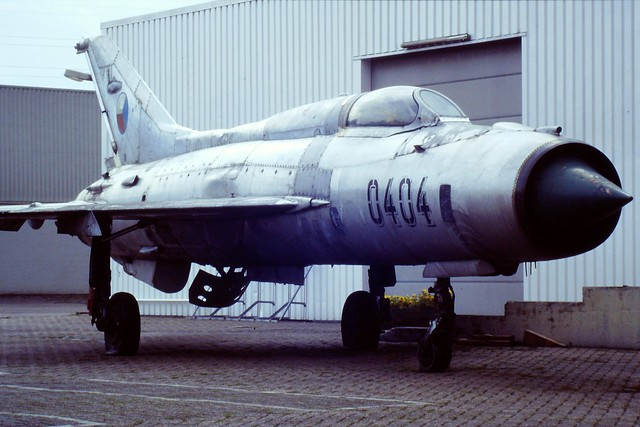MiG-21PF 0404 ex Czech-and-Slovak Air Force. Preserved, Doetinchem, the Netherlands. 06-07-1996.