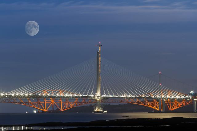 Moon over Forth River bridges